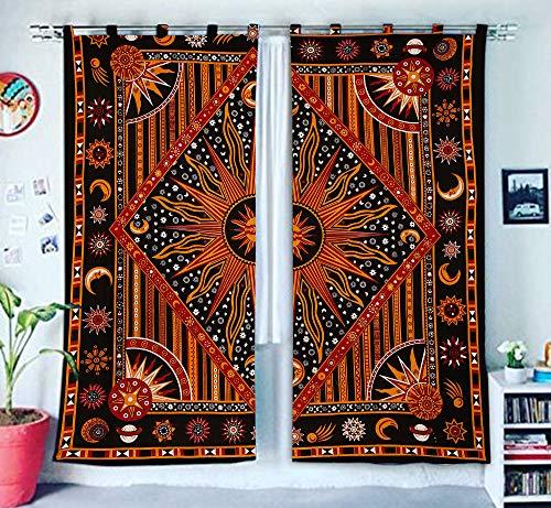 Burning Sun Hippie Gypsy Home Decor Window Treatments & Valance Bedroom Decor Living Room Decor Handmade Wall Hanging Boho Door Cotton Bohemian Mandala Tapestry Curtain Balcony Sheer Room Divider]()