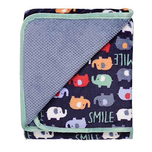 (Baby Starters 2-Ply Reversible Luxe Blanket, Blue, Elephant Parade)