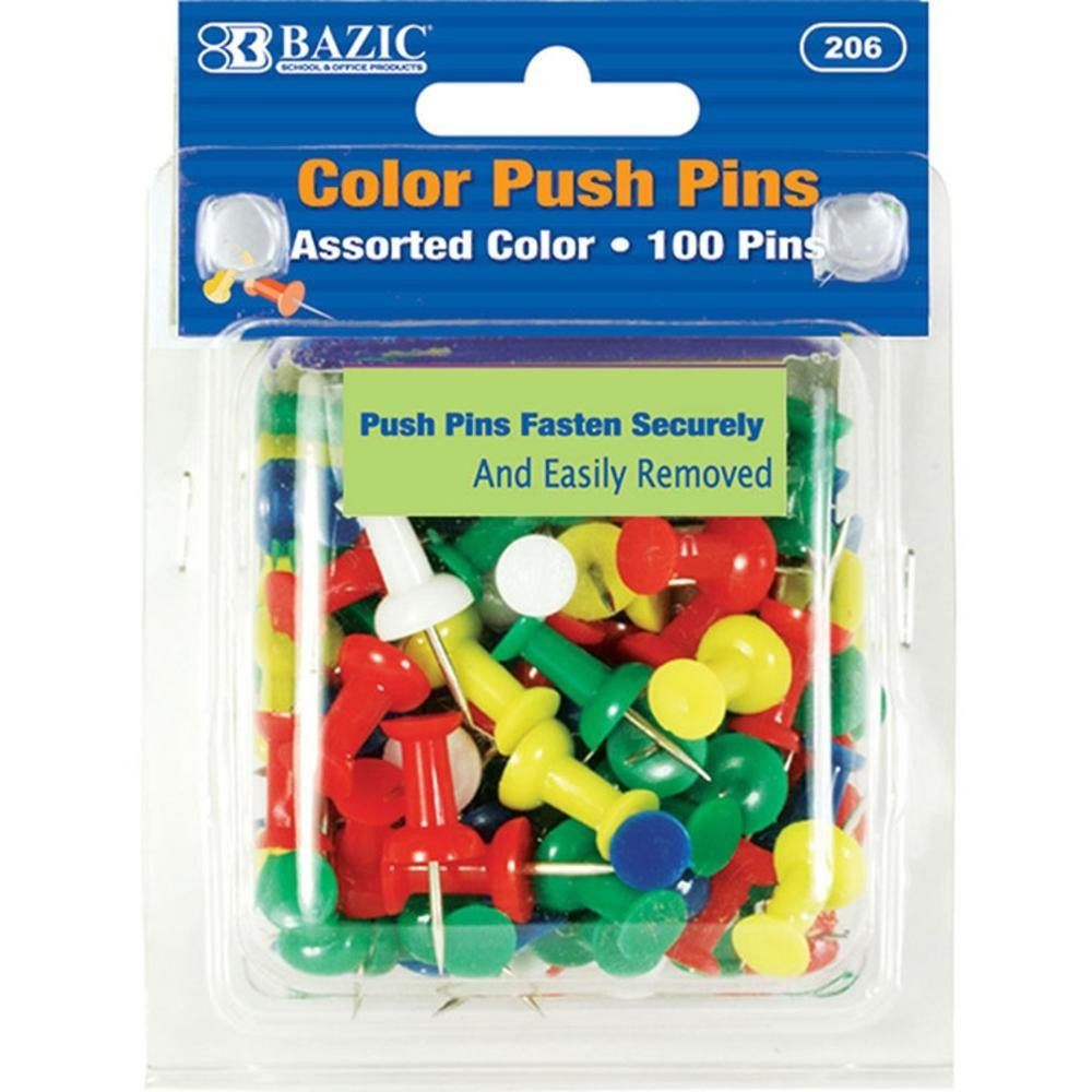 Bazic Assorted Color Push Pins (100/Pack) (Pack Of 144) by Bazic (Image #1)