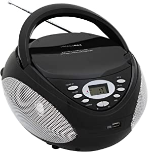 HANNLOMAX HX-326CD Portable CD/MP3 Boombox, AM/FM Radio, USB Port for MP3 Playback, Aux-in, LCD Display,AC/DC Dual Power Source (Black)