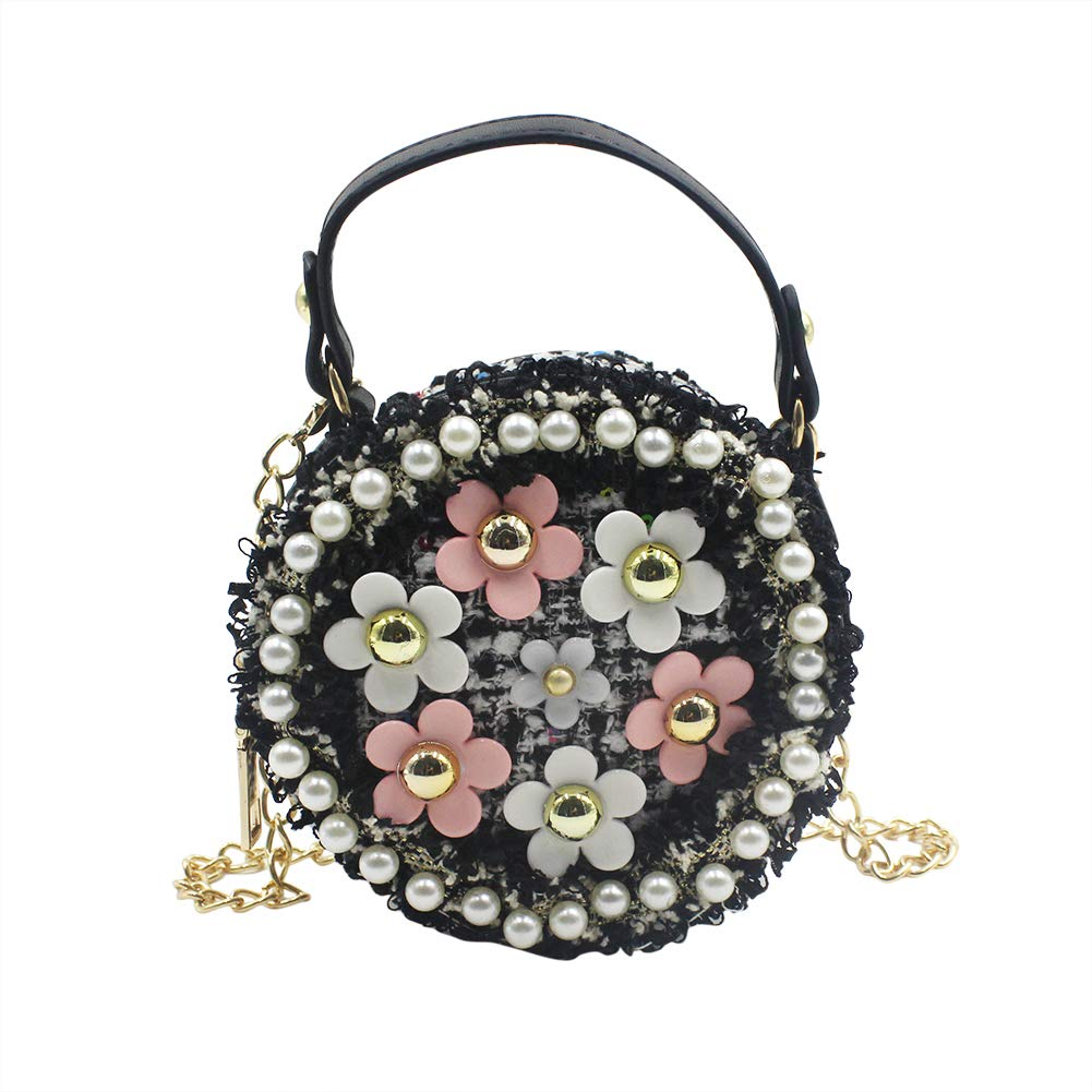 Amazon.com  Aibearty Mini Crossbody Bag Girls Purse Pearl Flower Shoulder  Handbags with Chain Black  Clothing