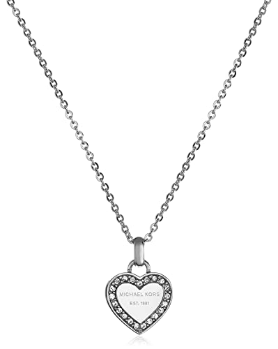 10e6da35b3ce Amazon.com  Michael Kors Silver Tone Logo Heart Pendant Necklace  Jewelry
