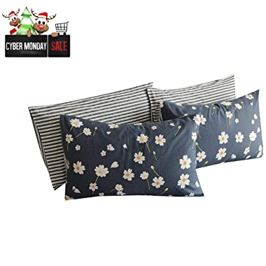 BuLuTu Cotton Daisy Print Bed Pillowcases Set of 2 Queen Navy Floral Kids Pillow Covers Decorative Standard for Kids Adults Envelope Closure End -Premium,Hypoallergenic,Breathable (2 Pieces,20 ×26 )
