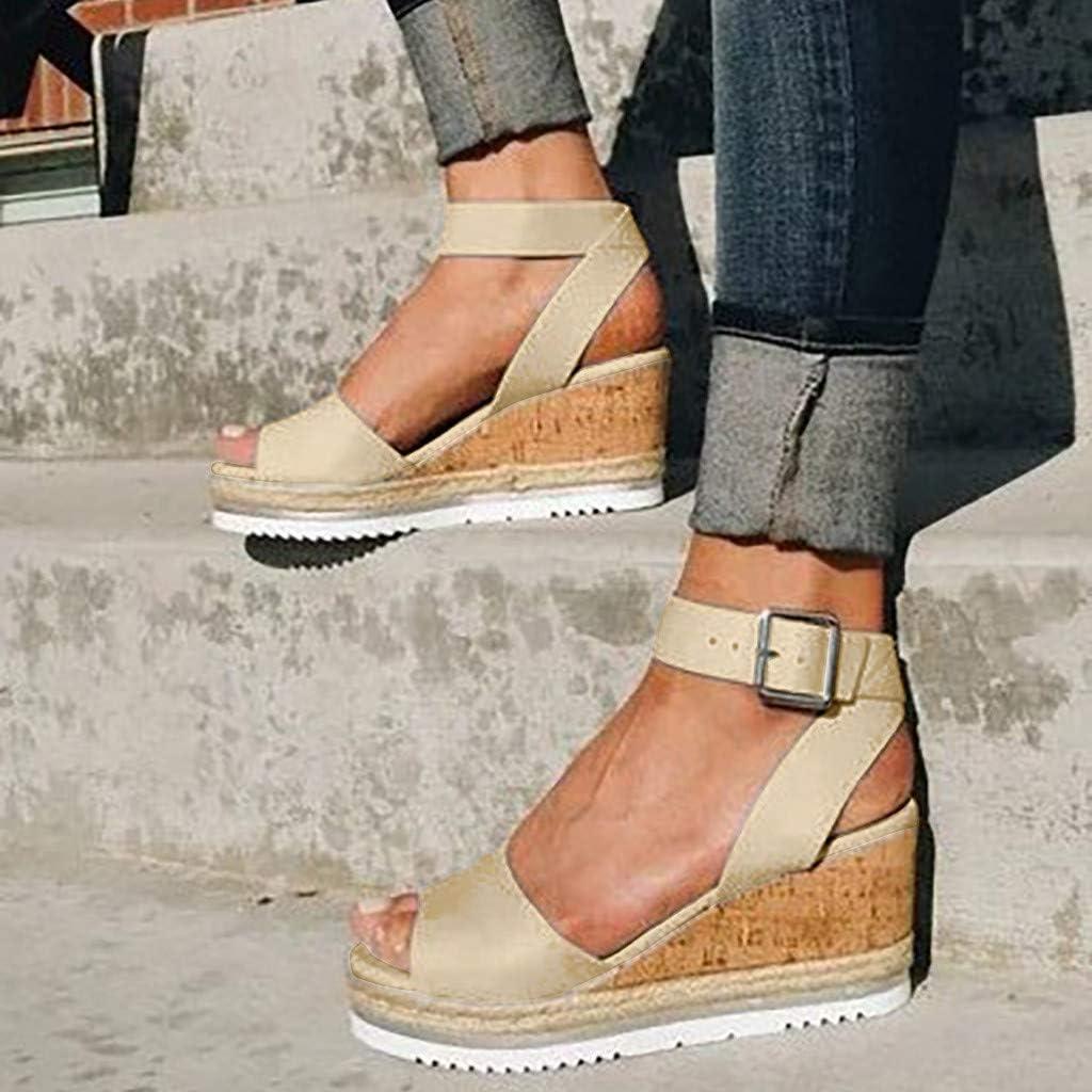 Womens Wedges Sandals Ladies Retro Fashion Open Toe Ankle Platform Roman Shoes