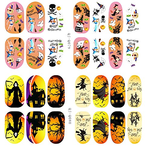 South Weekend Halloween Skull Bone Nail Art Sticker Watermark Tattoos Nail Art Tips 2018 (C)