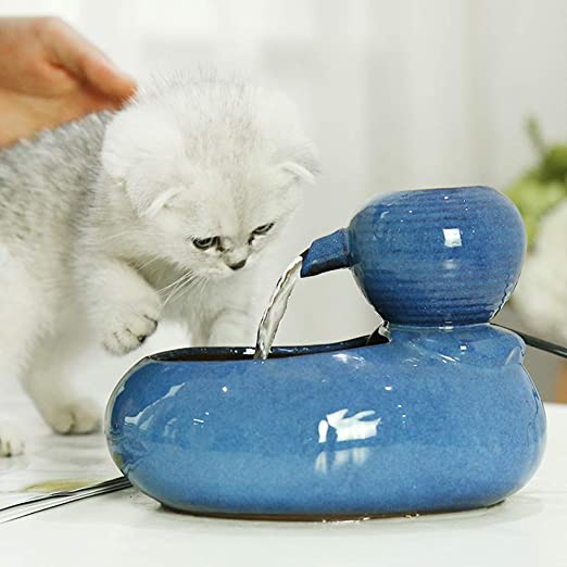 CanKun Fuente De Bebida Eléctrica De Cerámica para Gatos Perros Bebedero Automático Gato Dispensador De Fuente De Agua Productos para Mascotas Tazón De Comida,Azul: Amazon.es: Hogar