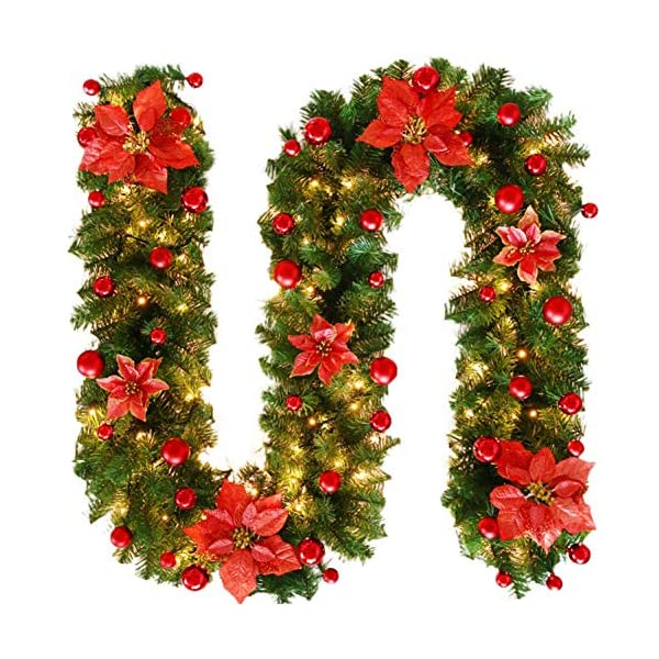 Gnc33Ouhen 2.7m Artificial Lifelike Fake Flowers Christmas Artificial Flower Vine Rattan Garland Wreath Garland Plant Vine for Home Wedding Arch Party Garden Decor Hanging Party Decor – Red