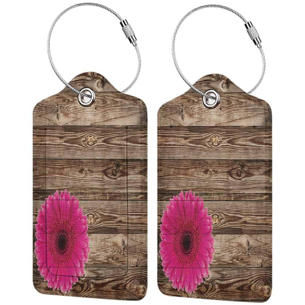 Small luggage tag Rustic Home Decor Pink Daisy Blossom on Vintage Wood Wall Picture Gerbera Flower Farm Country Style Quickly find the suitcase Collection W2.7 x L4.6