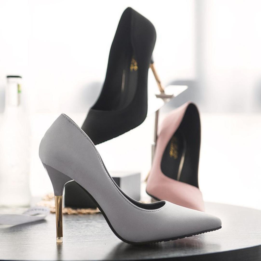 Tacones de mujer Covermason Zapatos de tacón fino de moda Zapatos de tacón bajo de punta estrecha(38 EU, Negro): Amazon.es: Ropa y accesorios
