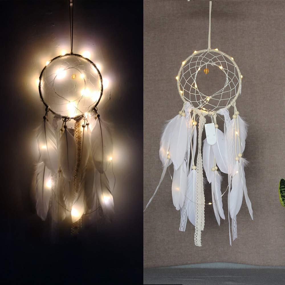 Tuscom Handmade Feathers Dream Catcher with Lighting| Mysterious Blessing Gift|Avoiding Evils Hanging Decor Room Home Decor (White 16x54cm) (White)