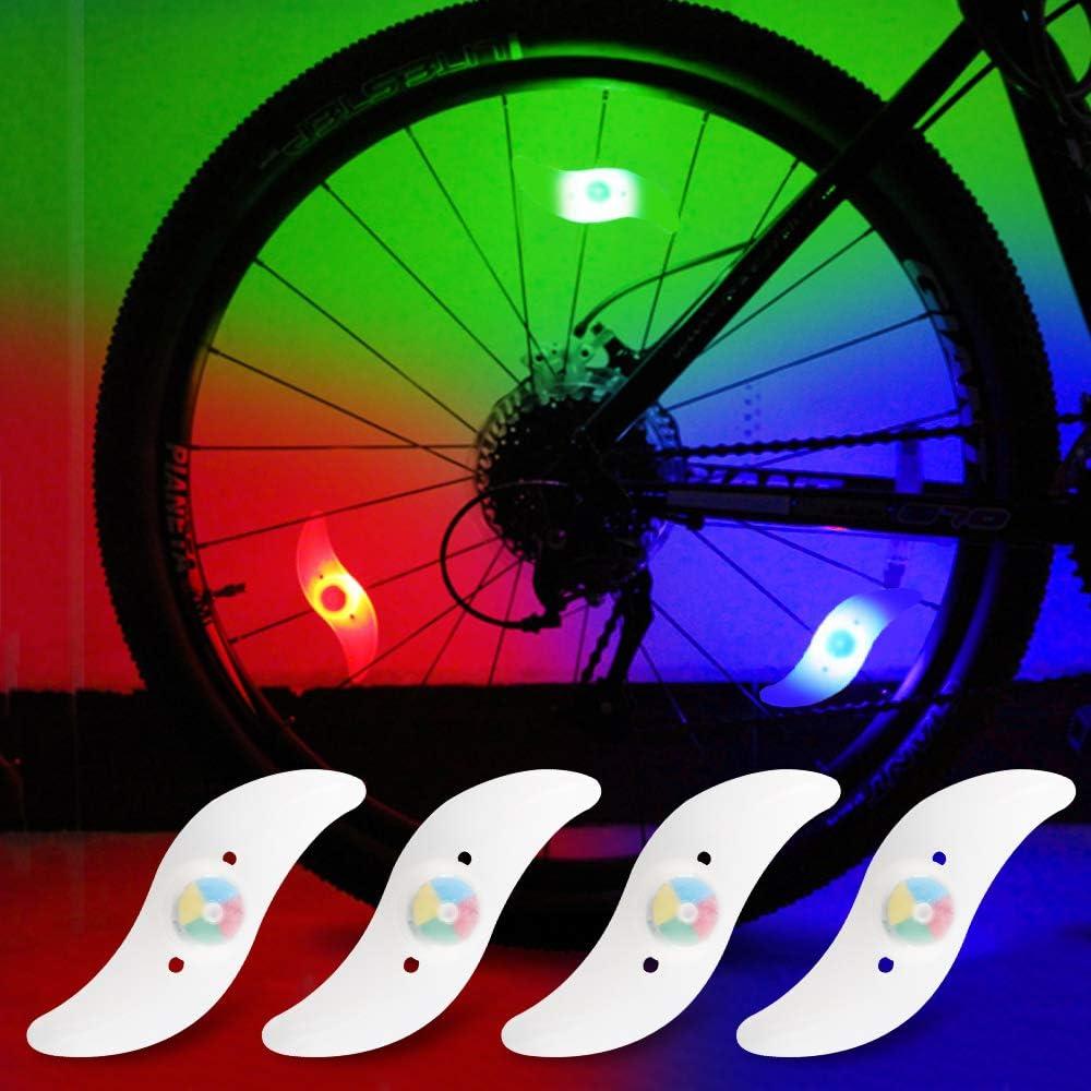 yifengshun 4pcs luz de radios de Bicicleta, Rayo de la decoración Impermeable de la Rueda de la Bicicleta luz del Destello del LED lámparas de neón usadas