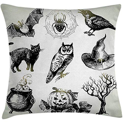 Vintage Halloween Throw Pillow Cushion Cover, Halloween Related Pictures Drawn Hand Raven Owl Spider Black Cat, Decorative Square Accent Pillow Case, 18 X 18 Inches, Black White -