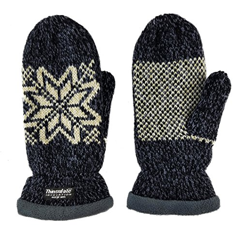 wflake Knit Mittens with Warm Thinsulate Fleece Lining Size L (Dk.Grey) ()