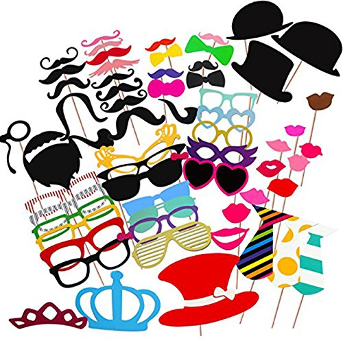 MOT Global Photo Booth Props 60 Pieces for Wedding Party Birthdays Reunions Photo Booth Dress-up Accessories with Wooden Sticks & (2)