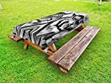 Ambesonne Safari Outdoor Tablecloth, Cat Expression Opposite Images Fearsome Teeth Mirror Angry Intense Wildlife, Decorative Washable Picnic Table Cloth, 58 X 120 inches, Pale Grey Black