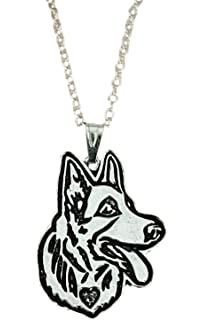Pashal Boxer Dog Etched Silver Chain Pendant Dog Necklace by