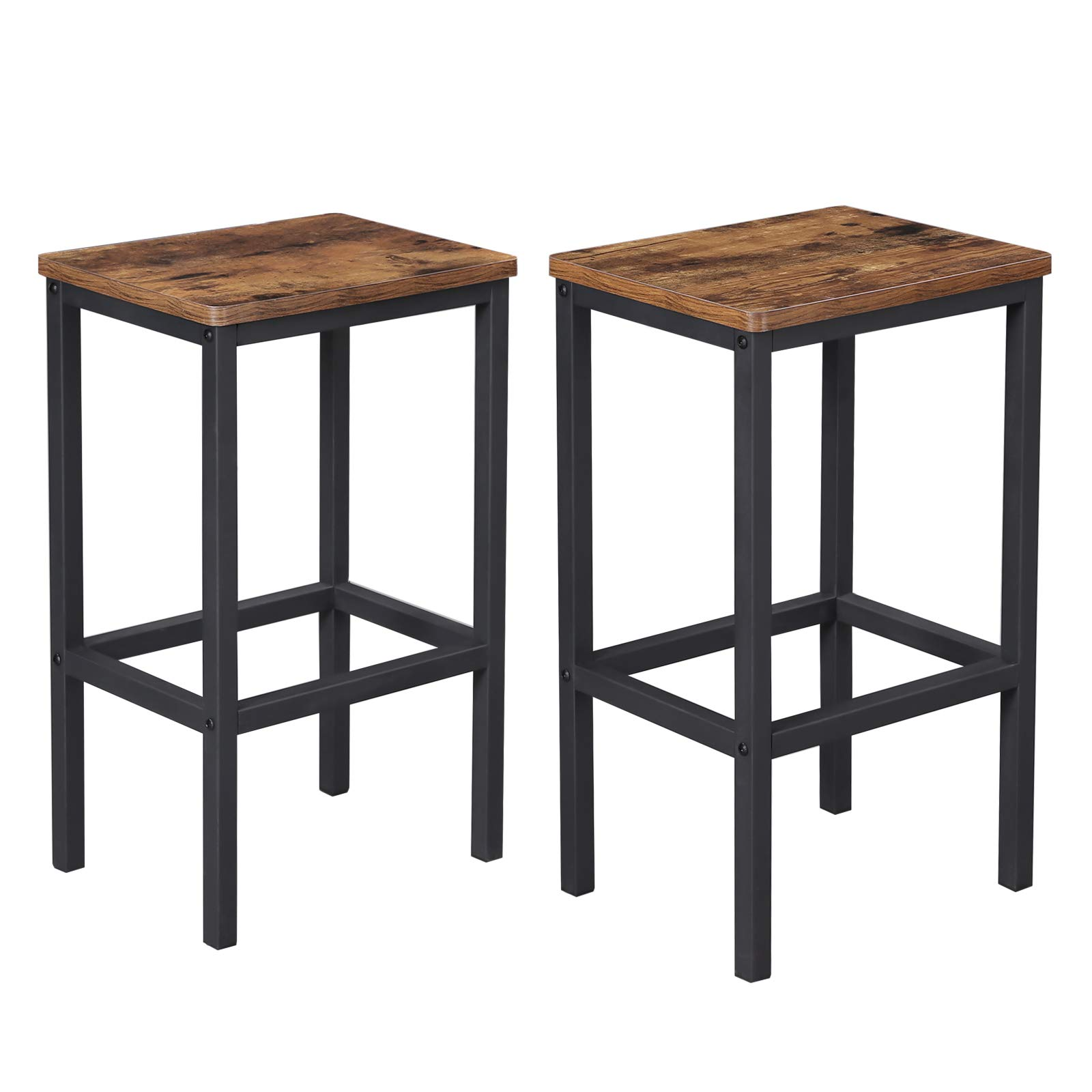 VASAGLE ALINRU Bar Stools, Set of 2 Bar Chairs, Kitchen Breakfast Bar Stools with Footrest, Industrial in Living Room, Party Room, Rustic Brown ULBC65X by VASAGLE