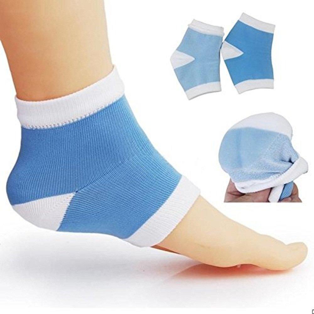 Makhry 2 Pairs Large Open Toe Moisturizing Gel Heel Socks for Dry Hard Cracked Skin Day Night Care Men Size 6-12 (Blue,L)