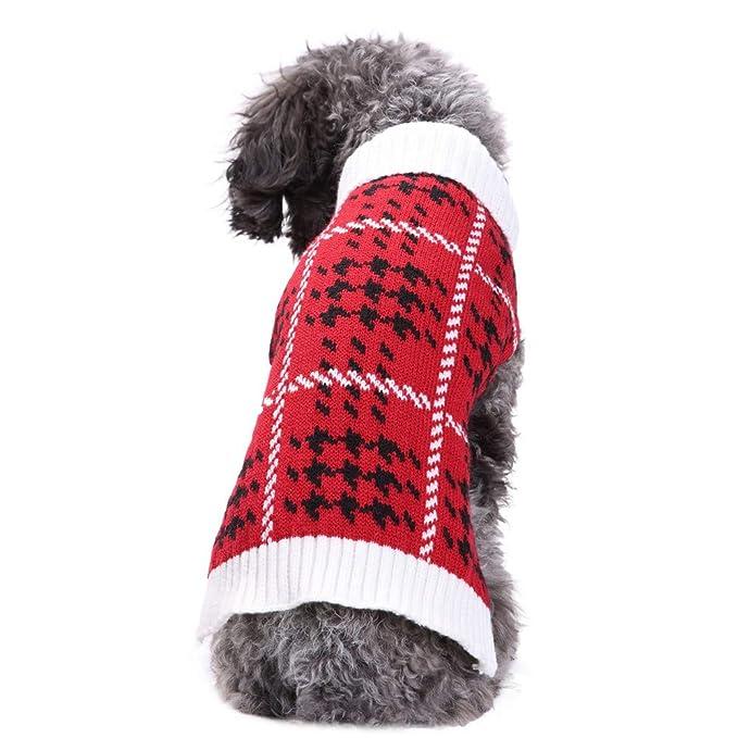 Ropa para Mascotas,Dragon868 Cálido otoño Invierno suéter Rojo de Punto para Perros de Mascota: Amazon.es: Ropa y accesorios