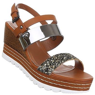 Damen Sandaletten Schuhe Keil Wedges Gold 40 8CJs5n