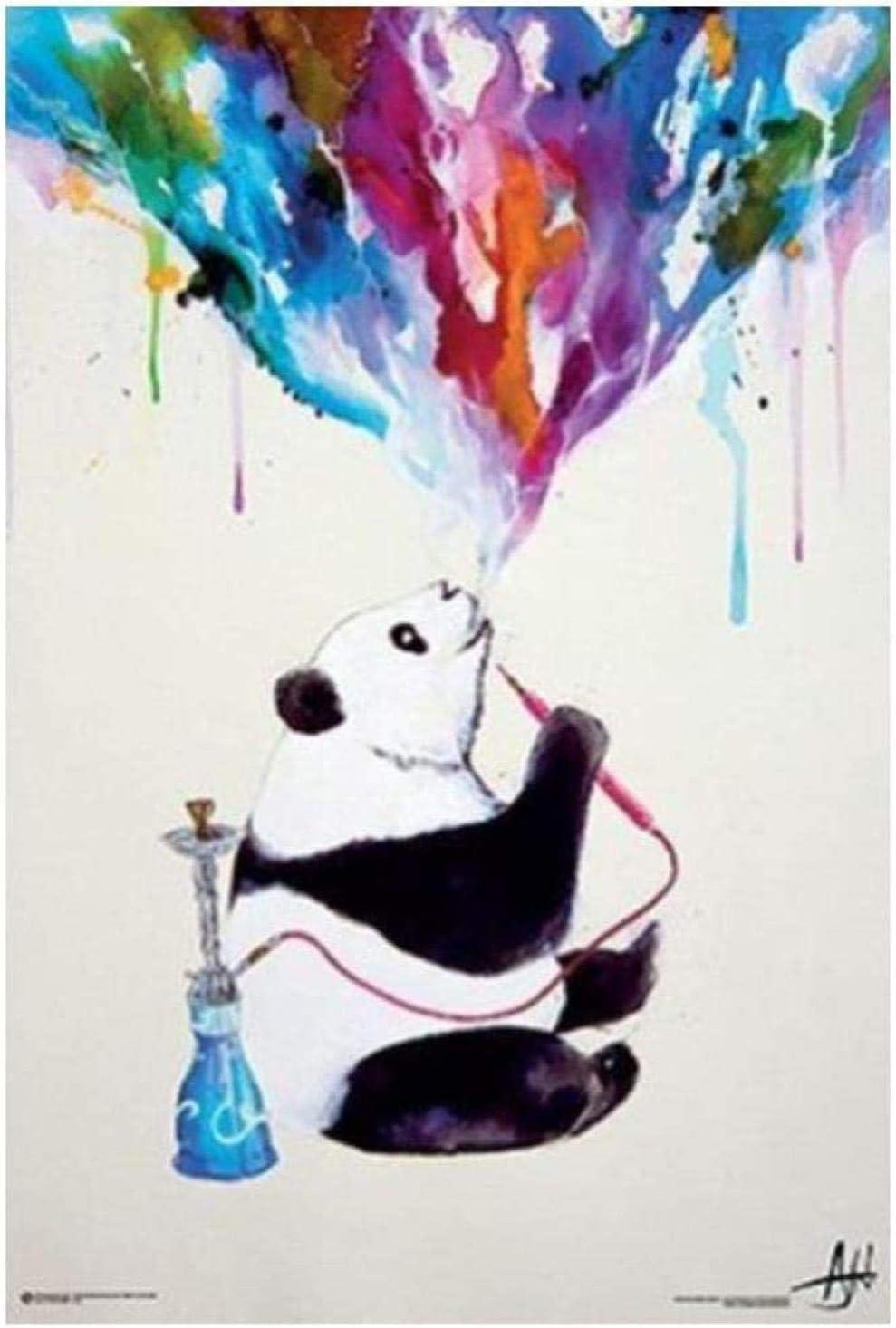 WANGHH Sin Marca Acuarela Panda Shisha Fumar Pintura en Lienzo Impresión y póster para el hogar y la decoración de la Pared de la Sala de Estar - 40x60cm Sin Marco
