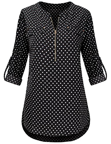 Sunerlory Black Blouses for Women, Women's Casual Notch V Neck Roll up Sleeve Chiffon Blouse Floral Tops Black (Sleeve Chiffon Womens Blouses)