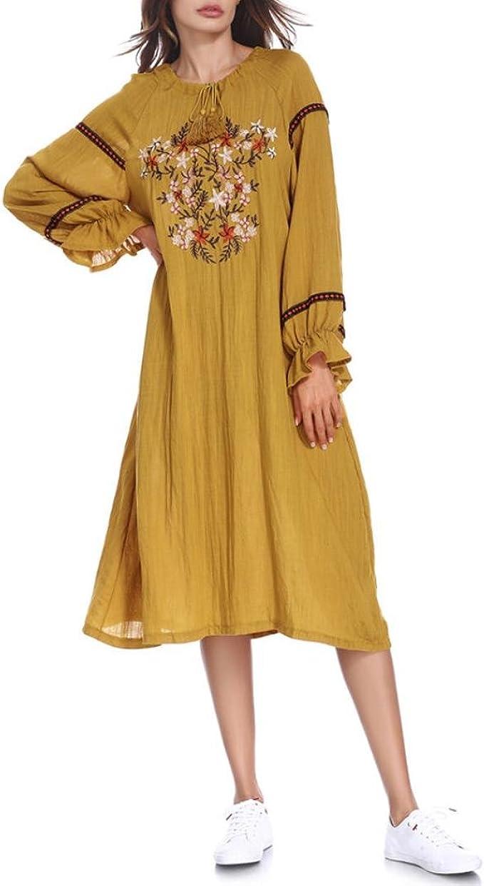 Oyedens Muslim Stickerei lose große orientalische Kleid Damen Muslim Long  Dresses Embroidery Ramadan Dress Robe Islamische Kleidung muslimische