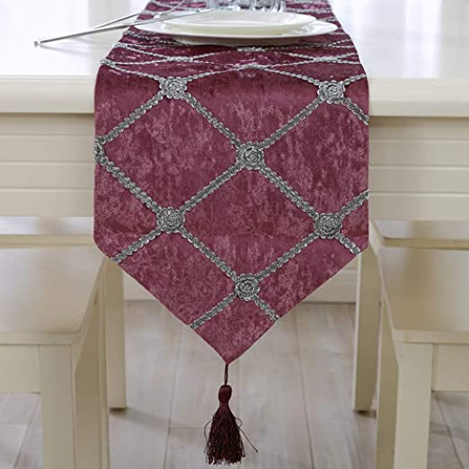 HeimiHome Camino De Mesa Púrpura De Terciopelo Rojo,Flores De ...