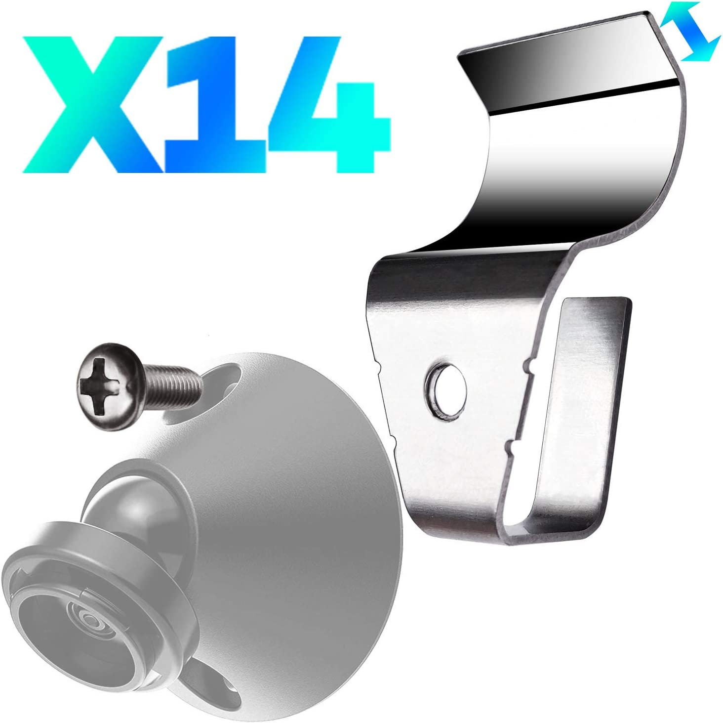 Upgraded 2.0 14 Pack Vinyl Siding Clips Hooks No-Hole Needed for Blink XT2 Wyze Cam Pan Arlo Ring Cam Mount Home Security Camera