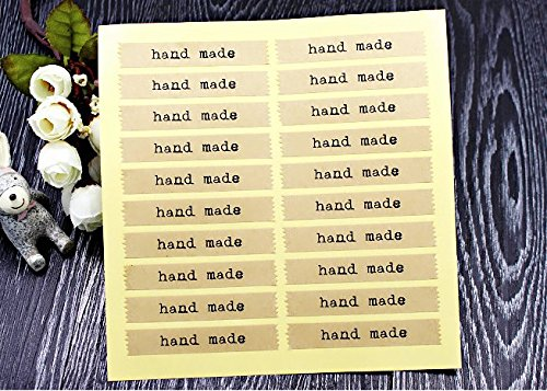 AUCH Hand Made Zigzag Edge Kraft Sticker Seal for Home Baking Handmade Cookie Cake Scrapbooking Homemade Soap Gift Packaging, Pack of 200 Rectangle La…