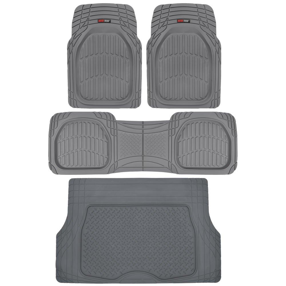 Motor Trend 4pc Gray Car Floor Mats Set Rubber Tortoise Liners w/ Cargo for Auto SUV Trucks