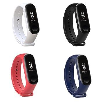 XIHAMA - Correa de Silicona Suave de Repuesto para Reloj Deportivo Inteligente Xiaomi Mi Band 3 (Set1(4 pcs)): Amazon.es: Electrónica