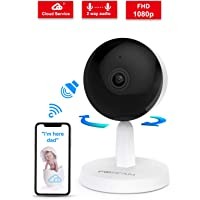 Video Baby Monitor,Foscam 1080P Wireless Pet Baby Monitor 2 Way Audio 1 Button Call Night Vision Smart Home Indoor Security Camera Works with Alexa Cloud Service Human Motion Detection