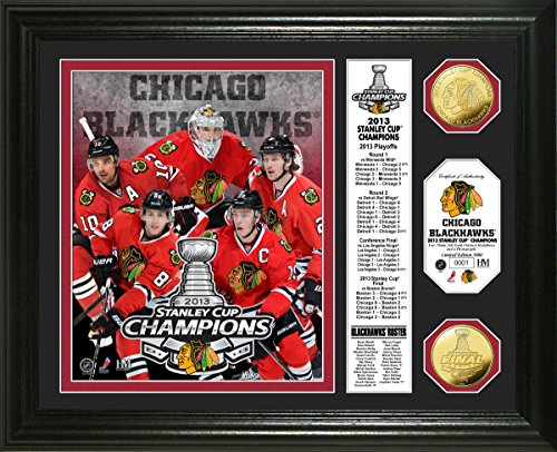 "NHL Chicago Blackhawks 2013 Stanley Cup Champions Banner Coin Photo Mint, 22"" x 15"" x 4"", Gold"