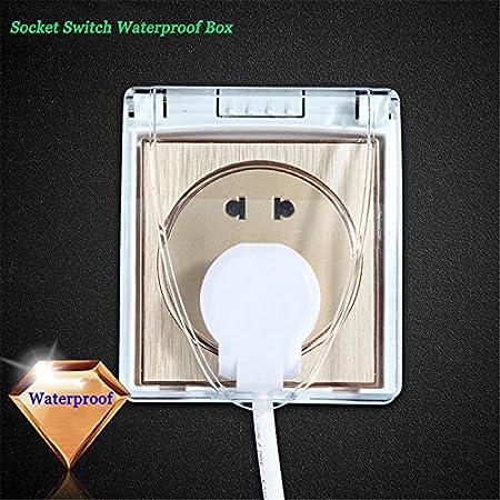 Interesting® Universal 86 tipo a prueba de agua interruptor de enchufe eléctrico caja de salpicaduras para baño (blanco)