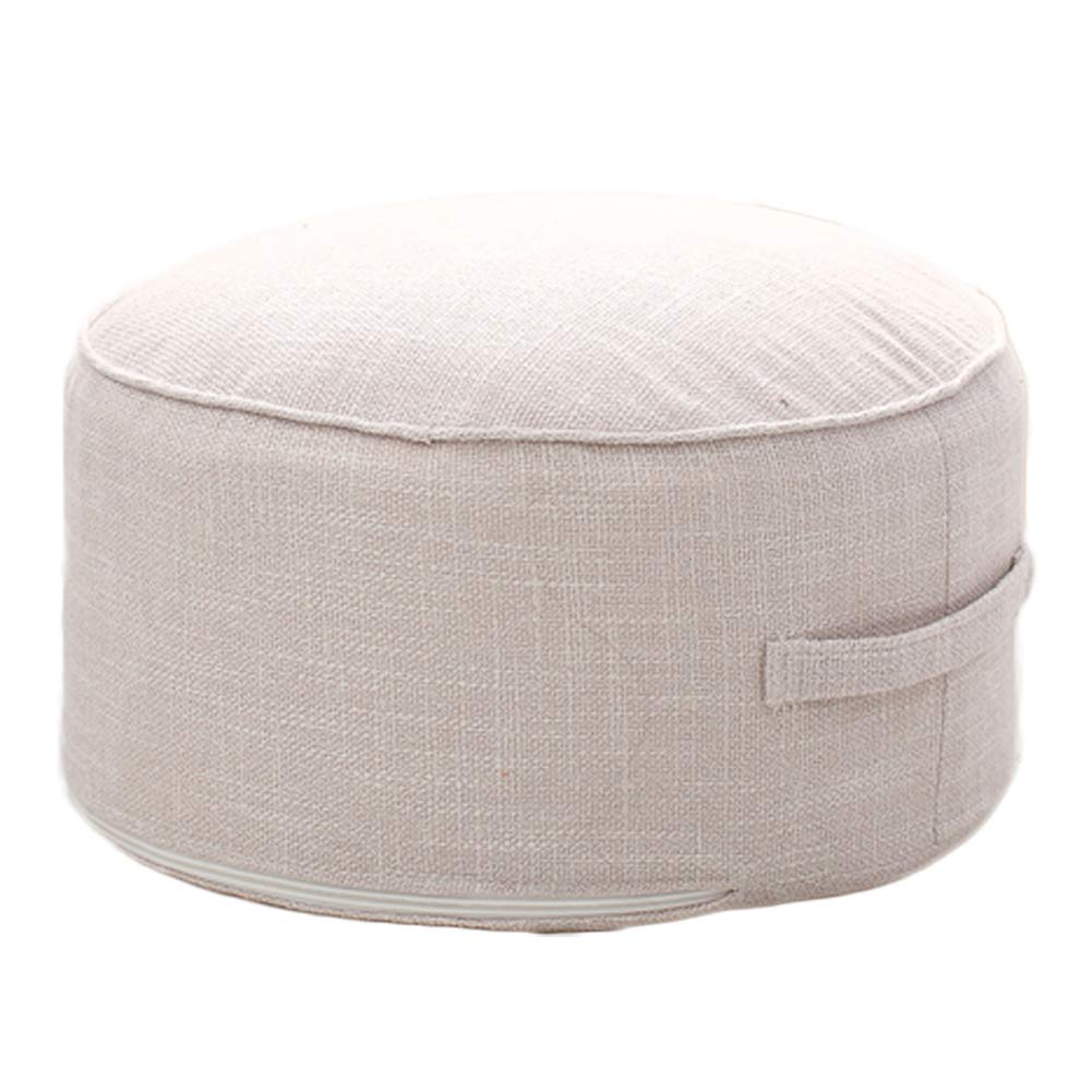"""idee-home Small Round Pouf for Living Room - Foot Stool Ottoman with Handle Design, Great for The Living Room, Bedroom and Kids Room Small Furniture, Cream 14""""x14""""x7"""""""