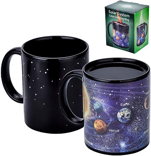 Taza M/ágica Sistema Solar Negro Taza De Cambio De Temperatura Agua Caliente Cambio De Color Taza De Cer/ámica Taza Regalos Creativos