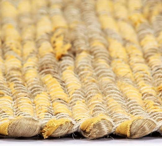 Festnight Alfombra de Yute Rectangular 120 x 180 cm Amarillo y Natural Alfombra Tejida a Mano de Yute Trenzado y Algodón: Amazon.es: Hogar