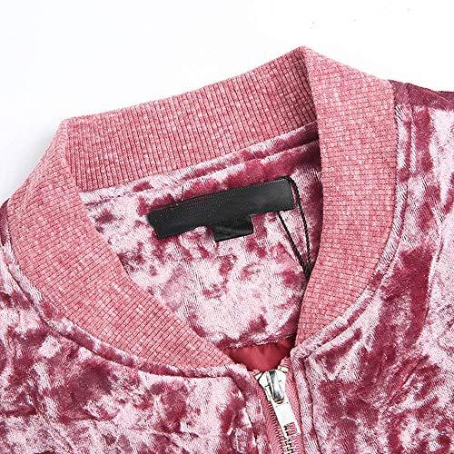 Velluto Morwind Coat Vento Elegante Lunga Donne Di Cappotto Per Inverno Cardigan A Dell'annata Signore 2018 Baseball Giacca Jacket Caldo Pink Hot Delle AqAwnx