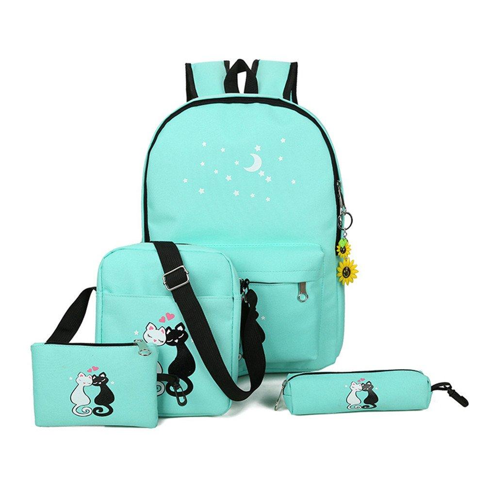 KCJELK 4pcs/Set Women Back Pack Schoolbag Mochila Cut School ...