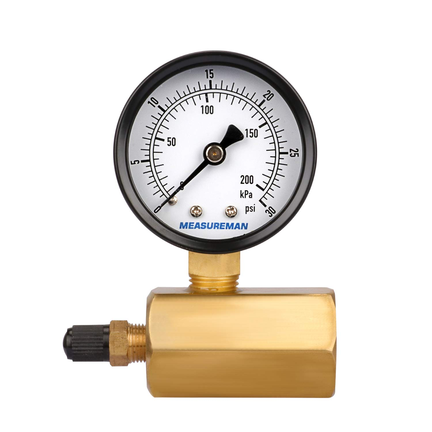 Measureman 2 Steel Gas Pressure Test Gauge Assembly 3//4 FNPT Connection 0-30 psi//kpa 3-2-3/% Accuracy