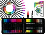 Dual Tip Brush Pens Art Markers 36 Color Set Canvas Organizer Case Flexible