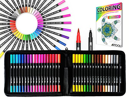 Dual Tip Brush Pens Art Markers 36 Color Set Canvas Organizer Case Flexible Brush and 0.4mm Fineliner - Coloring Journaling Lettering Drawing Sketching Designing Illustration Planner Manga Doodling