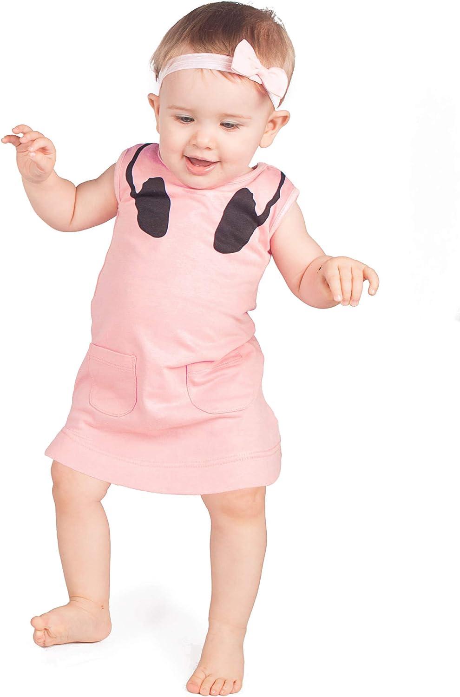 DJ Baby Dress | Moda Bebé Niña Verano Playa Traje 1er Cumpleaños, Navidad Amante de la Música Regalo | BABY MOO'S UK melocotón 1-2 años
