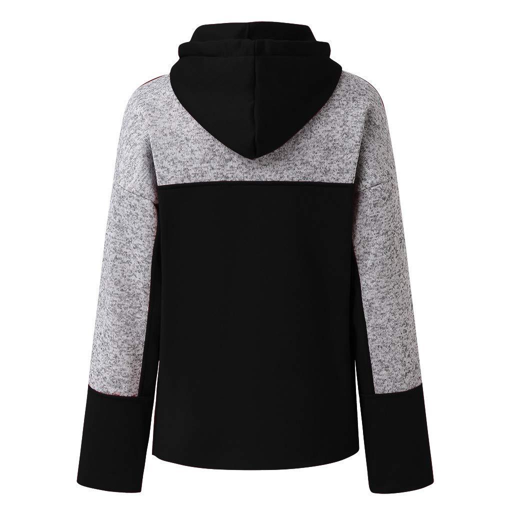 IEason Women Hooded Sweatshirt Color Block Loose Pocket Pullover Tops