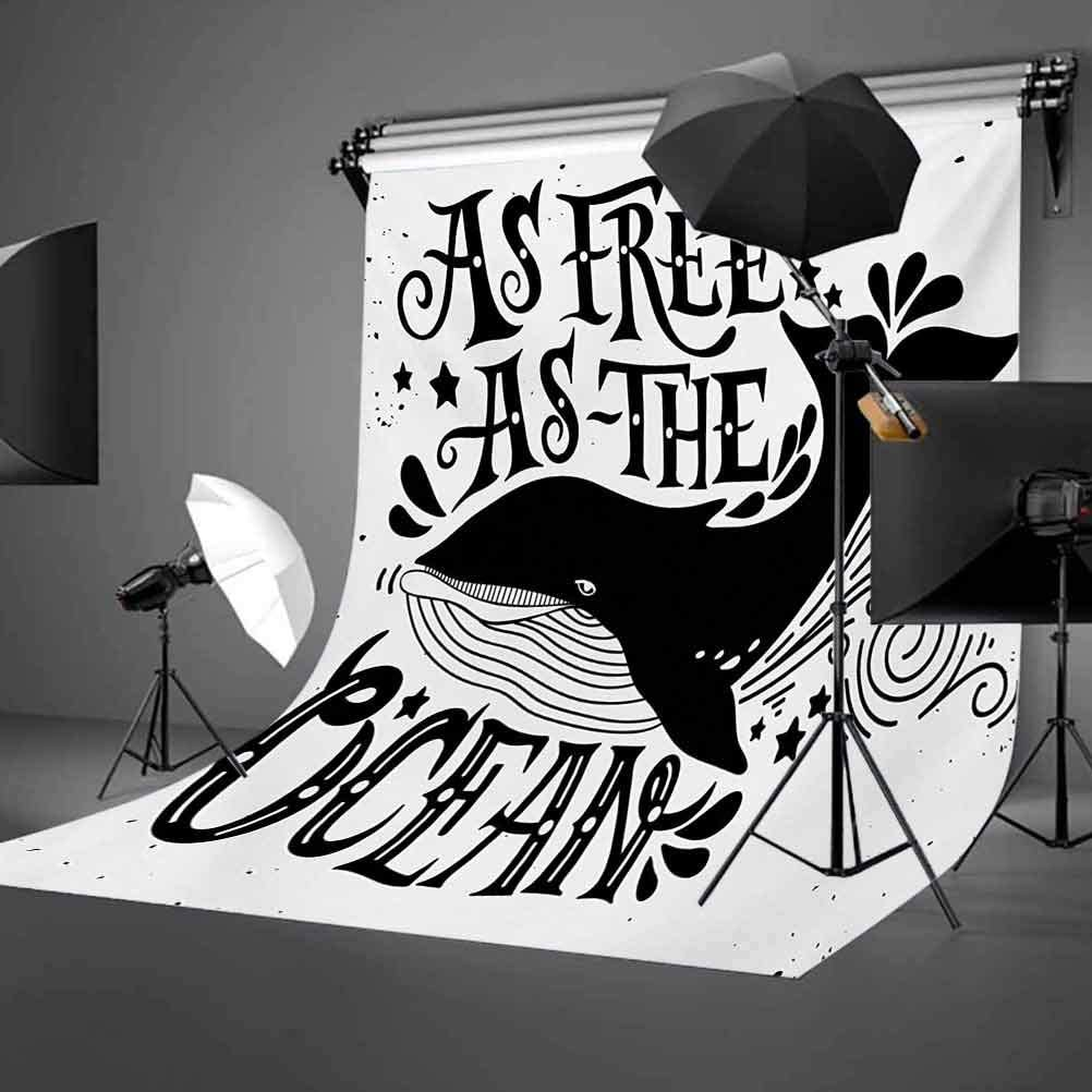 Quote 6.5x10 FT Backdrop Photographers,Wild Big Whale Swims As Free As The Oceans Maritime Nautical Art Inspiration Background for Party Home Decor Outdoorsy Theme Vinyl Shoot Props Black and White