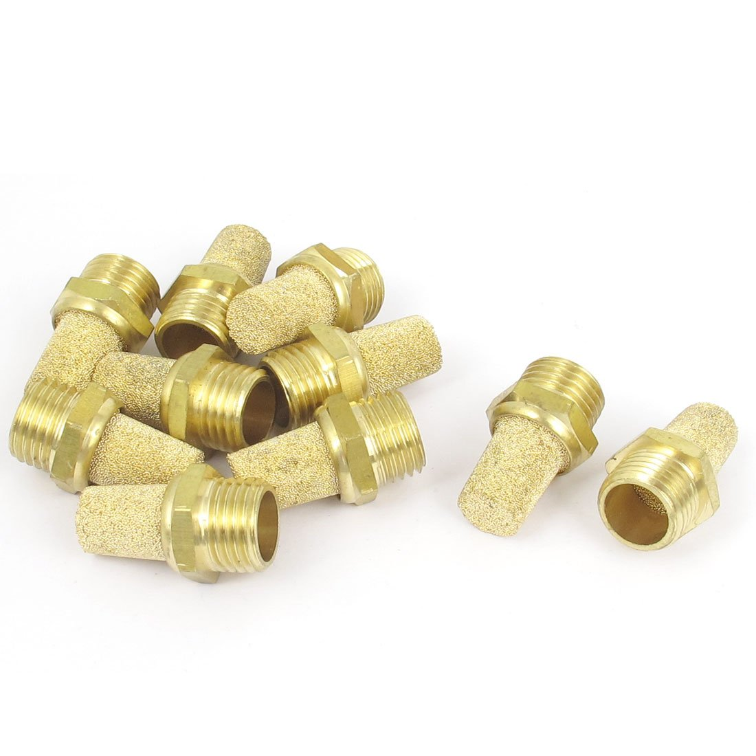 sourcingmap® 1/4BSP Male Thread Brass Pneumatic Exhaust Silencer Muffler 10pcs a15103000ux0408