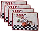 Woven Tapestry Place Mats - Fat Chefs - Set of Four (Panini / Pizza Chef)