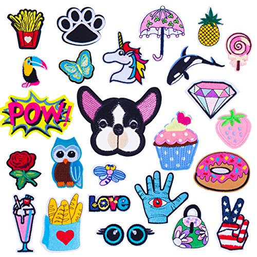 Review Iron on Patches Embroidery Applique Assorted Size 25 Pieces Decoration Kit DIY Sew on Patch f...