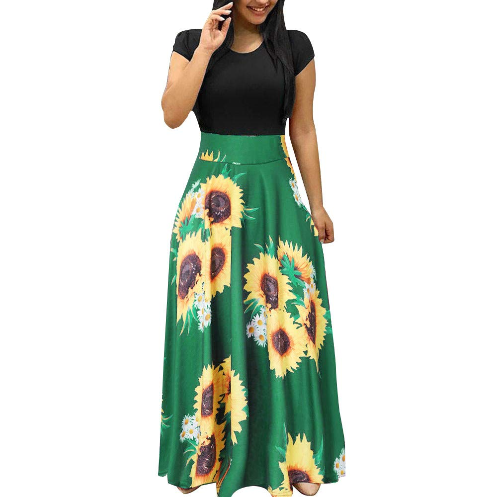 HJuyYuah Women Summer Short Sleeve Sunflower Print Sundress Casual Swing Dress Maxi Dress Green by HJuyYuah